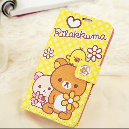 With Card Cute Rilakkuma Bear Stand Pu Leather Cases For Samsung Galaxy Note 2 II N7100 Note 3 III N9000 Flip Cover Protector(China (Mainland))