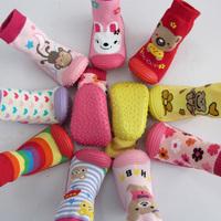 Retail 1Pair baby socks  with rubber soles Floor Sock With Animal Children/Kids Girl/Boy Socks