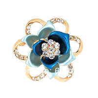 2014 Hot Sell Free Shipping Fashion Shiny Crystal Blue Enamel Brooch Flower Rose for Women Dress Corsage