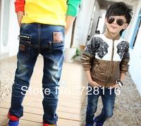 (5 pieces/lot) Children boy of leisure pencil blue jeans boy zipper decoration spell leather jeans pockets
