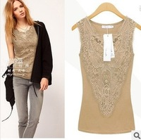 2014 spring women's new women's lace camisole sleeveless long section of a large code base shirt