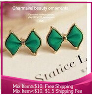 B298 bowknot Fashion jewelry Color stereo Star model earrings