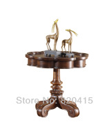 AICO - VICTORIA PALACE - CHAIR SIDE TABLE LIGHT ESPRESSO American Contemporary Leisure Table Antique Carved Wooden Furniture