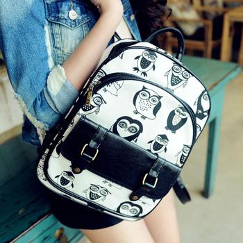 Сова рюкзак опрятный стиль моды старинные студент сумка рюкзак круглый холст женской