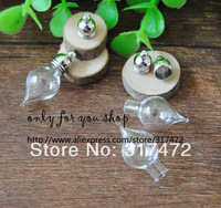 Free ship!! 50set/lot  Glass Vial Pendant Perfume wish Bottle with mental cap DIY Jewelry Pendant