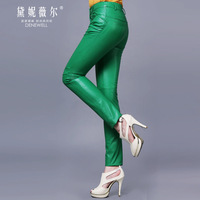 Genuine leather trousers slim skinny pants pencil pants fashion