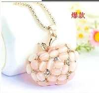 New ! Fashion Exquisite Alloy Rhinestone Opal Apple  Long Necklace Lovely crystal Sweater Chain Woman Free Shipping 10pcs