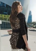 2014 Long Chiffon Leopard Small Suit Coat Plus Size Women Clothing Graphic Coat Women Leisure Suit Plainclothes Free Shipping
