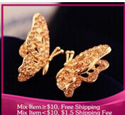 B299 Imitation diamond butterfly noble Fashion earrings Women jewelry free shipping
