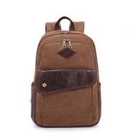 Double-shoulder canvas vintage commercial travel backpack