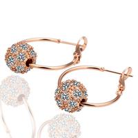 Beautiful Woman Bead Crystal Jewelry Stud Earrings 18KGP Gold Plated Rhinestone Earring Stainless Steel necklaces & pendants