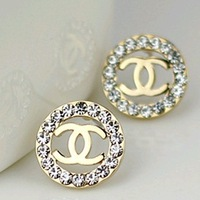 Top Quality glossy France C round zirconia diamonds women fashion stud earrings