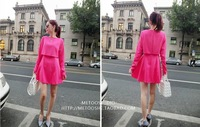 Women's spring new Slim false two solid round neck long-sleeved dress