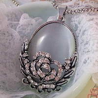 New Arrival ! Free shipping  Hot Sale Retro Rose Flowers Opal Long Pendant Necklace Fashion hollow sweater chain 10pcs