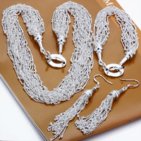 wholesale 925 silver jewelry sets fashion jewelry sweet earrings+necklace+bracelet silver 925 jewelry set free shipping S206