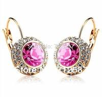 2013 Fashion Shiny Full Austrian rhinestone Crystal  Earring free shipping#L073