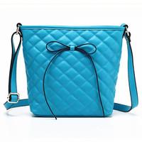 Plaid bow women's genuine leather handbag 2014 one shoulder cross-body bag small cowhide bucket bag multicolor  free shipping