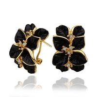 Beautiful Flower Crystal Jewelry Stud Earrings 18KGP Gold Plated Rhinestone Earring Stainless Steel necklaces & pendants