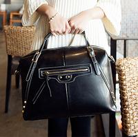 Genuine leather women's handbag bag 2014 oil waxing leather cowhide handbag women's lather-bag motorcycle bag shoulder bag