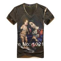 2014 New Style Summer 3D Oli Paint Printing Europe USA Renaissance Women Short Sleeve Cotton Man V-Neck T-shirt Clothes M L XL