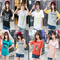 Summer 2014 HARAJUKU plus size female print short-sleeve t-shirt honey sisters equipment mm batwing shirt female