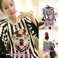 Spring 2014 school wear HARAJUKU young girl stripe t-shirt female Iotion sisters equipment basic shirt