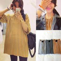 Spring 2014 Iotion sisters equipment medium-long stripe t-shirt HARAJUKU school wear young girl basic shirt