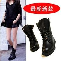 Free Shipping New  Women Platform Fashion Low-heeled Boots Female Thick Heel Shoes Martin Boots woman  Black EU35-42 1892