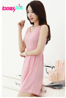 New 2014  spring  Korean version of Slim sleeveless vest skirt dresses Mini Sexy Party Vintage Rivets Brand Free Shipping