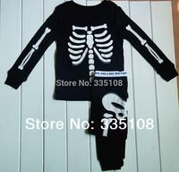 Dro shipping Human skeleton Glow in the Night Kids Pajamas baby sleepwear Long sleeves pajamas boy clothing sets Halloween gifts