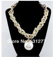 Korean fashion exaggerated large pearl pendant necklace chain gold plated plus intermediate rough weave necklace of pearls