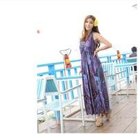 Free Shipping new 2014 spring plus size high waist one-piece dress bohemia  full beach dresses  QZ134