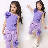 New Summer Fashion Children's clothing female child sports set 2014 vest flower twinset casual capris