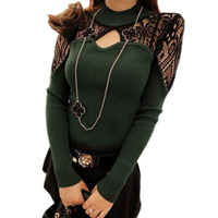 Spring 2014 T-shirt Woman Knitted Sexy Lace Crochet Hollow Out Stand Collar Burgundy,Green,Black Basic Tops Freeshipping 01275