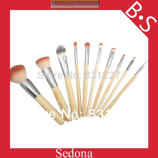 Eco-Friendly 10 pieces 2 tones synthetic hair bamboo makeup brush set natural bamboo color cosmetic brush kit for make up(China (Mainland))