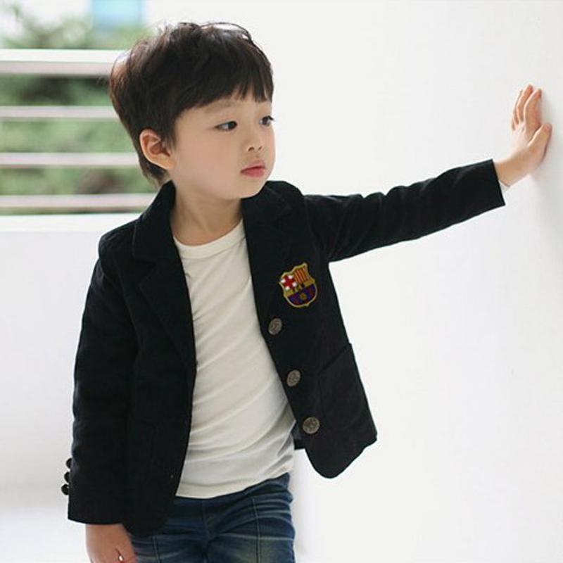 Children's clothing child 100% cotton casual blazer baby boy outerwear black top(China (Mainland))