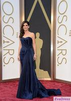 A Line Sleeveless Off Shoulder Sweetheart Pleat Elegant Sandra Blue Celebrity Red Carpet Gown Special Oscar Dresses 2014