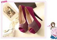 Hot-selling 2013 color block decoration open toe sandals high-heeled shoes platform shoes women pumps bridal shoes wedding shoes