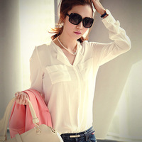 Qct 2014 spring autumn and winter women loose casual basic long-sleeve chiffon shirt top shirt  Plus Size XL