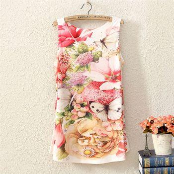 Vintage Spring Summer Женщиныs Рукавless Floral Бабочка Graphic Printed Printing ...