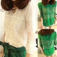2014 New Fashion Splicing Lace Eyelash Lace Back Button Lady Chiffon Shirt