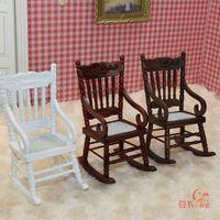 MINI CLUB-FREE SHIPPING- Doll house mini furniture model classic rocking chair white coffee walnut three-color 22017