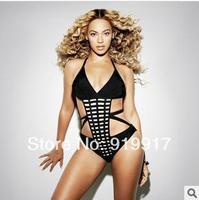 USA 2014 Sexy Leisure Style Integrated Strap Bikini Set Black Bandage One Piece Originality Swimwear Lattice Swimsuit XS/S/M/L