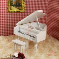 MINI CLUB-FREE SHIPPING- Bjd doll house mini furniture model Medium pure white grand piano belt drear 22020