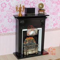 MINI CLUB-FREE SHIPPING- Doll house mini furniture model black quality fireplace model 22004