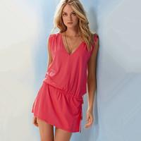 The new 2014. Sleeveless beach resort is prevented bask in skirt, summer relaxed dress. elastic