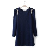 2014 formal all-match ol elegant pearl puff sleeve slim basic one-piece dress short skirt  free shipping