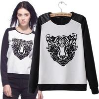 Women's fashion stereo digital fashion tiger print sweatshirt T-shirt long-sleeve top