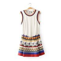 2014 spring and summer fashion ruslana korshunova color block print o-neck sleeveless tank dress one-piece dress short skirt