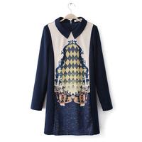 National 2014 trend basic skirt slim print pattern turn-down collar long-sleeve patchwork thickening one-piece dress female